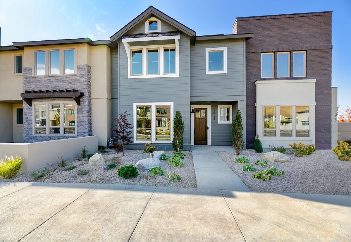 pictured are two of the three townhomes sold at the Blvd.