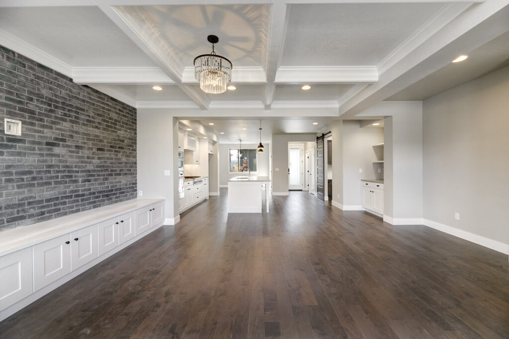 Open-concept living room and kitchen in a move-in ready townhome in East Boise.