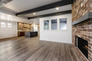 Spacious open concept living room and kitchen in The Parker